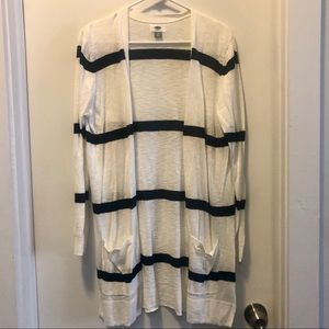 Old Navy long cardigan white with navy stripes